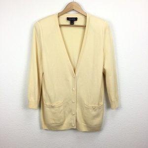 St. John Cashmere Cardigan Sweater Yellow Large